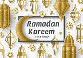 Ramadan Kareem Background. Islamic Arabic lantern. Greeting card. Vector illustration.