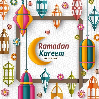 Ramadan Kareem Background. Islamic Arabic lantern. Translation: Ramadan Kareem. Greeting card. Vector illustration.