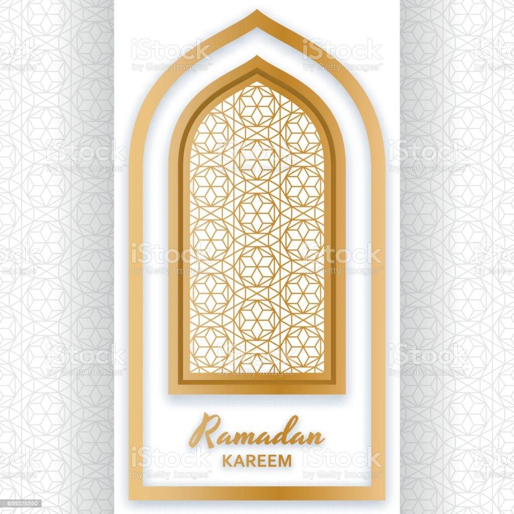 Ramadan Kareem Background. Islamic Arabic window. Greeting card. Vector illustration. vector art illustration