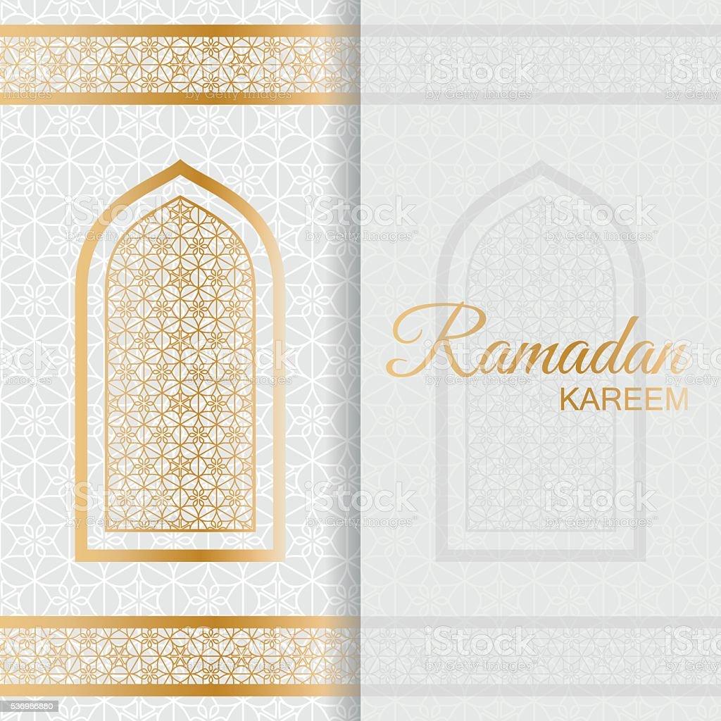 Ramadan Kareem Background. Islamic Arabic window vector art illustration