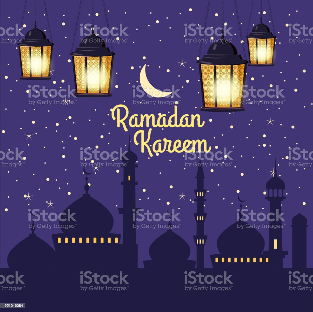 Ramadan Kareem background silhouettes of the mosque bright moon, night, starry sky, lanterns, postcard, vector, isolated, illustration vector art illustration