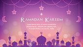 Ramadan Kareem background Vector illustration. Beautiful night with mosque on purple bokeh background