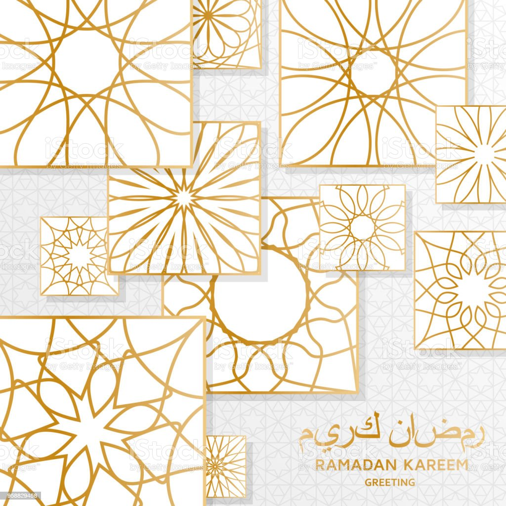 ramadan kareem background with decorative golden tiles bright Celebration Background with Clear Things ramadan kareem background with decorative golden tiles bright ornamental elements greeting card royalty