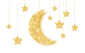 Ramadan Kareem background with gold handing shiny glitter glowing moon with stars on white background. Vector illustration.