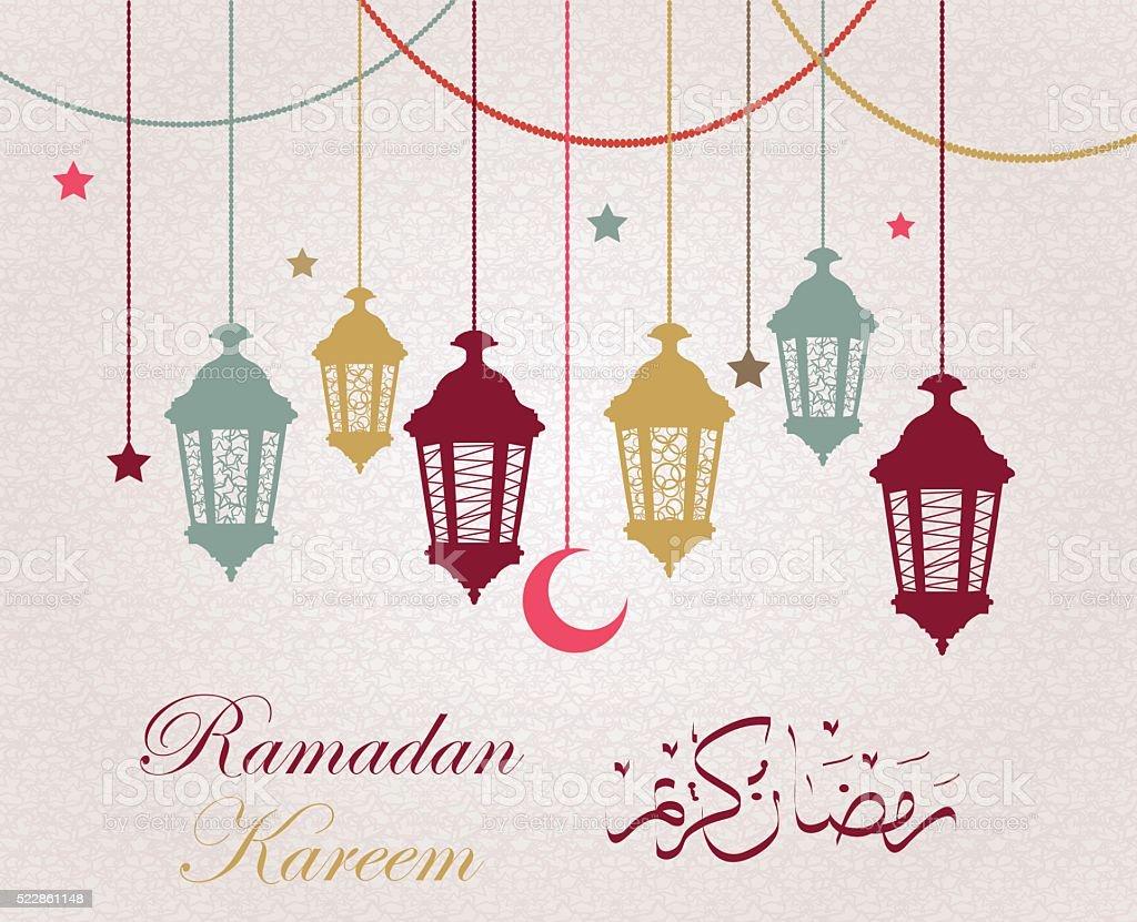 Fondo Ramadan Kareem con lámparas colgantes y estrellas - ilustración de arte vectorial