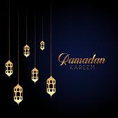 Elegant Ramadan Kareem background with hanging lanterns