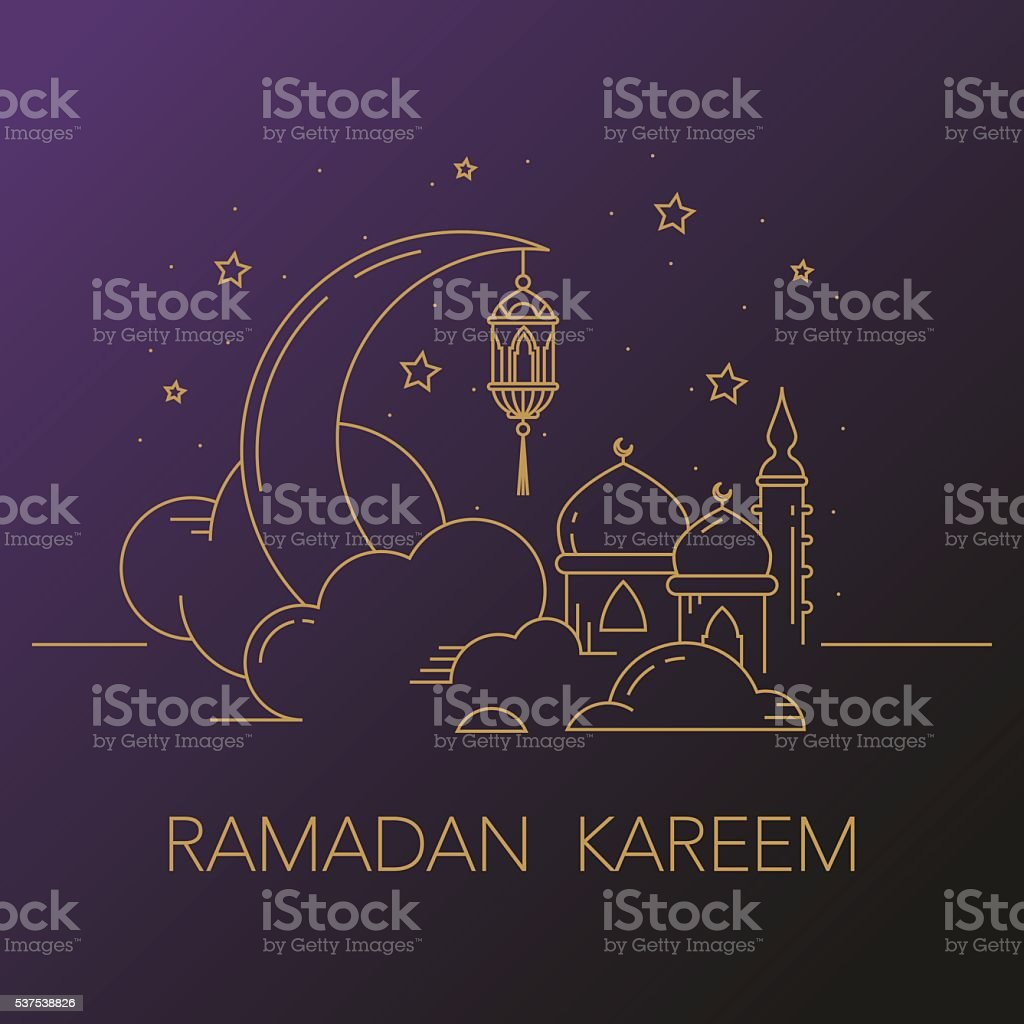 Ramadan Kareem background with moon, lantern, mosque in the clouds. vector art illustration