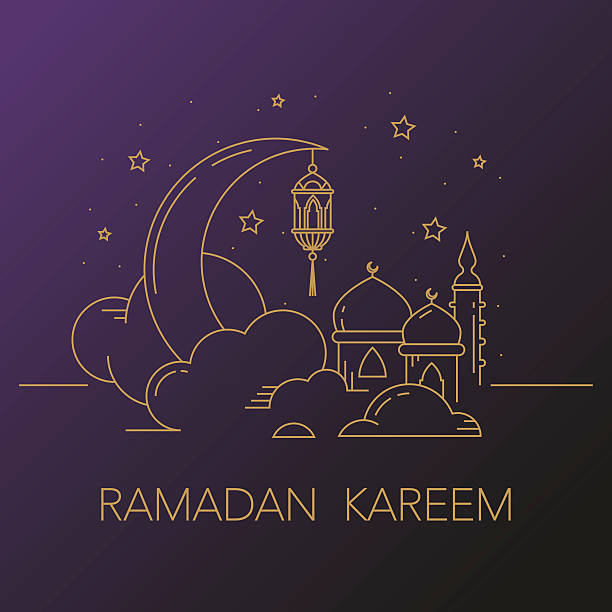 ramadan kareem background with moon, lantern, mosque in the clouds. - ramadan stock illustrations, clip art, cartoons, & icons