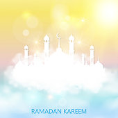 Ramadan kareem background with mosque and clouds. Vector illustration.