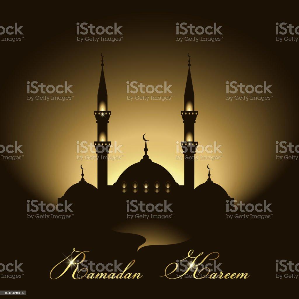 Ramadan Kareem background with mosque silhouette vector art illustration