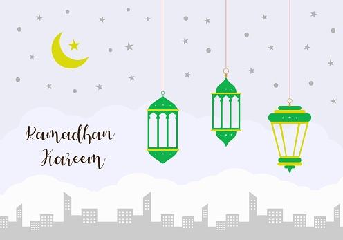Ramadan kareem banner. Celebration of holy month. Islamic lantern decoration with city silhouette. Flat cartoon style, vector illustration.