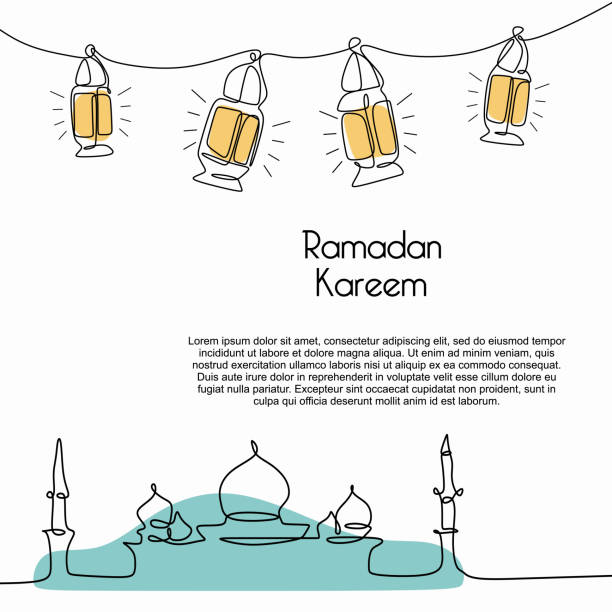 ilustrações de stock, clip art, desenhos animados e ícones de ramadan kareem banner template with trendy mosque and lantern continuous line drawing on white background vector illustration. - cora��o