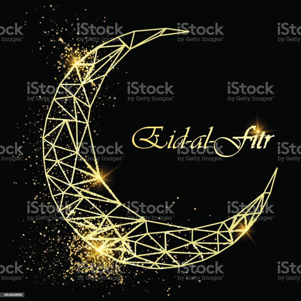 Ramadan kareem beautiful greeting card with polygonal golden moon ramadan kareem beautiful greeting card with polygonal golden moon with glitter on black background stock kristyandbryce Gallery