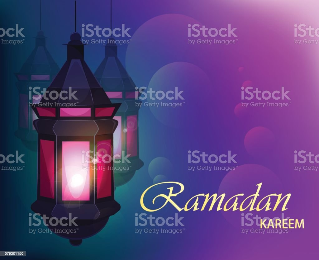 Ramadan Kareem beautiful greeting card with traditional Arabic lantern on blurred purple background. Usable for Eid Mubarak. Stock vector royalty-free ramadan kareem beautiful greeting card with traditional arabic lantern on blurred purple background usable for eid mubarak stock vector stock vector art & more images of abstract
