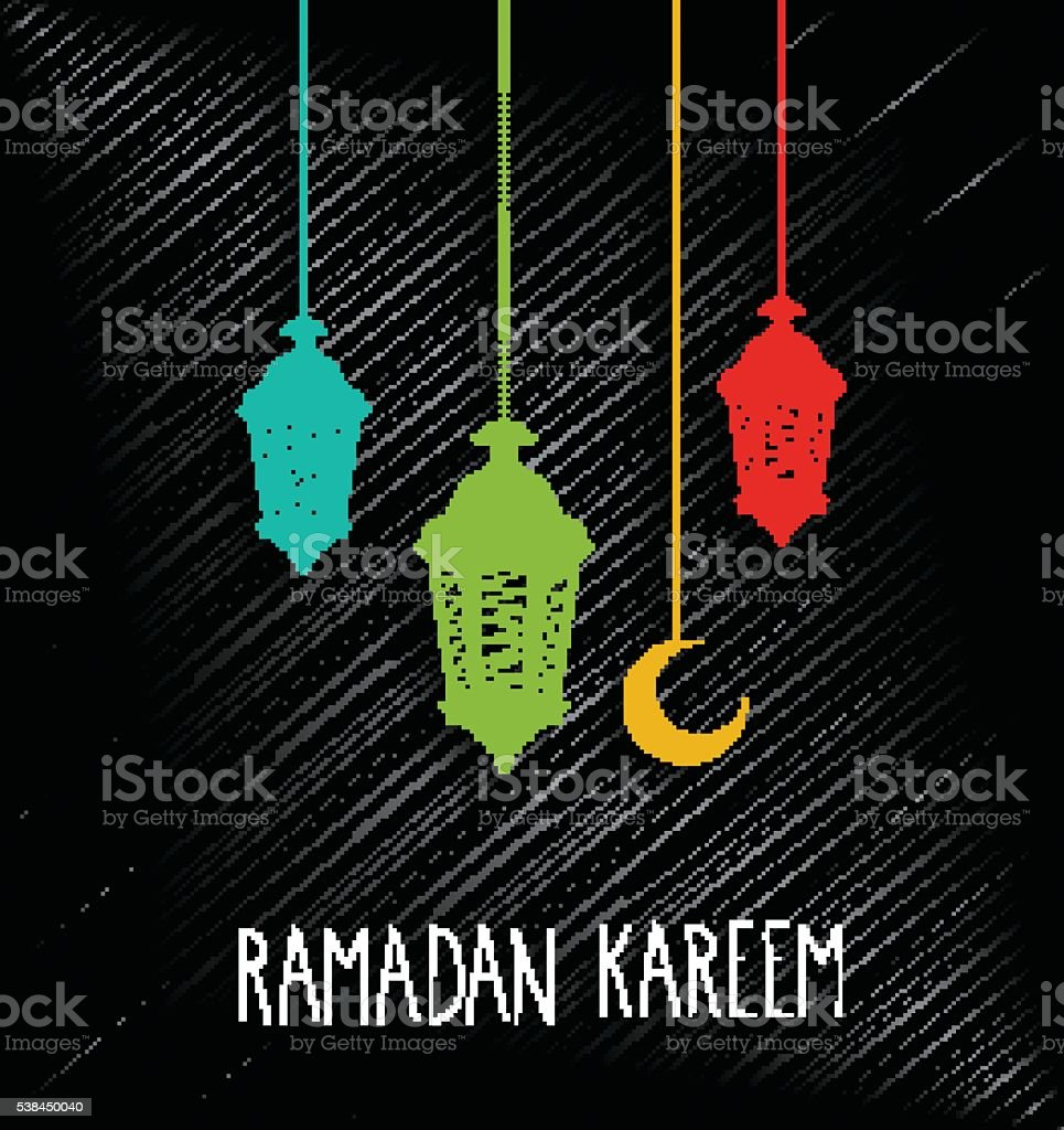 Ramadan Kareem black background with hanging colorful lamps. Handwritten text vector art illustration