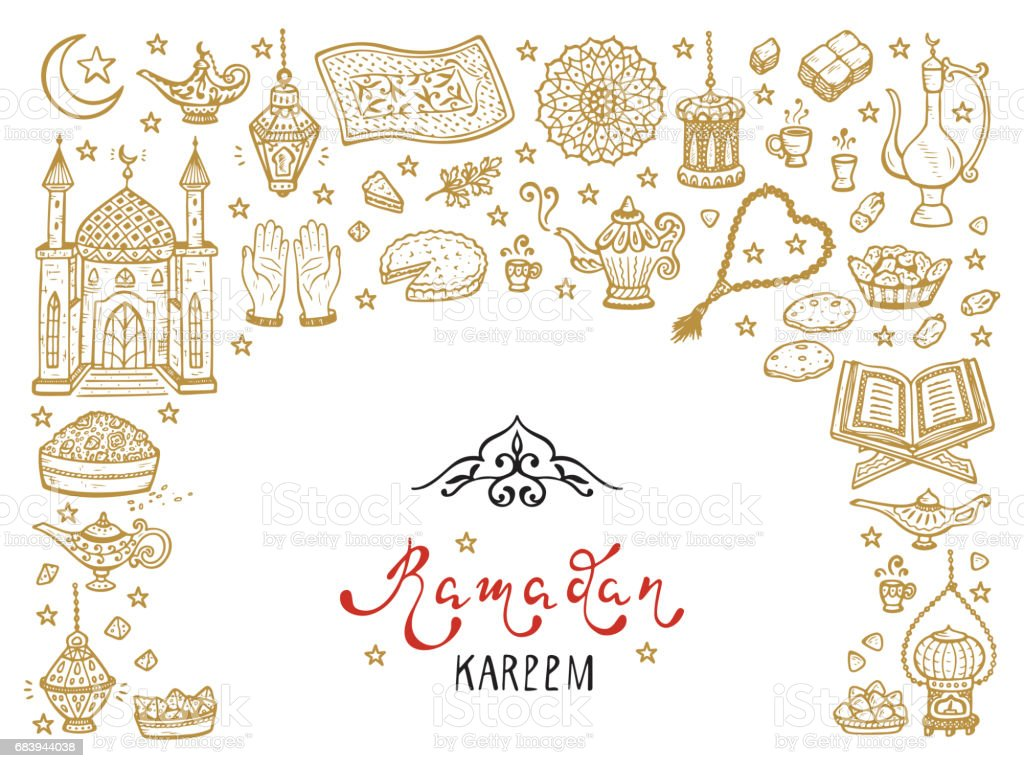 Ramadan kareem calligraphy lettering phrase and doodle traditional ramadan kareem calligraphy lettering phrase and doodle traditional arabic items greeting card template for holy m4hsunfo