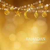 Decorative string. Hanging moon, stars, balls. Festive golden glitter blurred web background, bokeh lights. Greeting card, invitation for muslim community holy month Ramadan Kareem. - stock vector