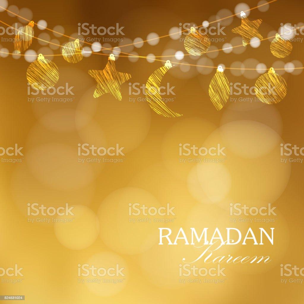 Ramadan Kareem card. Hanging moon, stars, balls. Vector. vector art illustration
