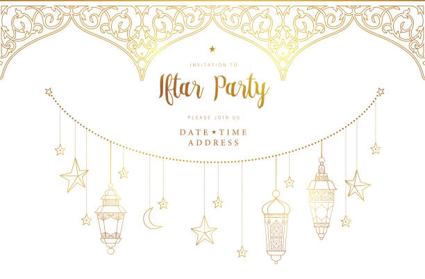 ramadan kareem card, invitation to iftar party celebration. - ramadan stock illustrations, clip art, cartoons, & icons