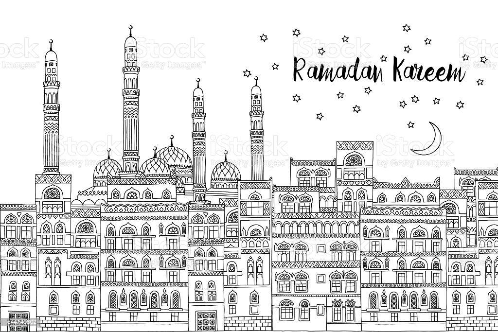 Ramadan Kareem card template vector art illustration