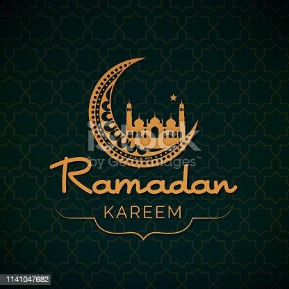 Ramadan Kareem card with geometric background