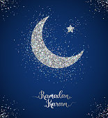 Ramadan Kareem glittering greeting card with crescent and star. Vector Illustration. Silver shining pattern with scattered confetti