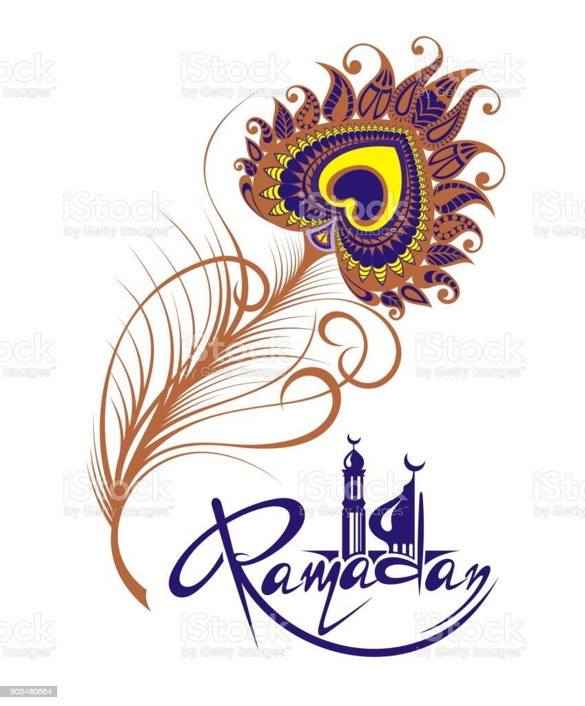 Ramadan Kareem card with feather vector art illustration