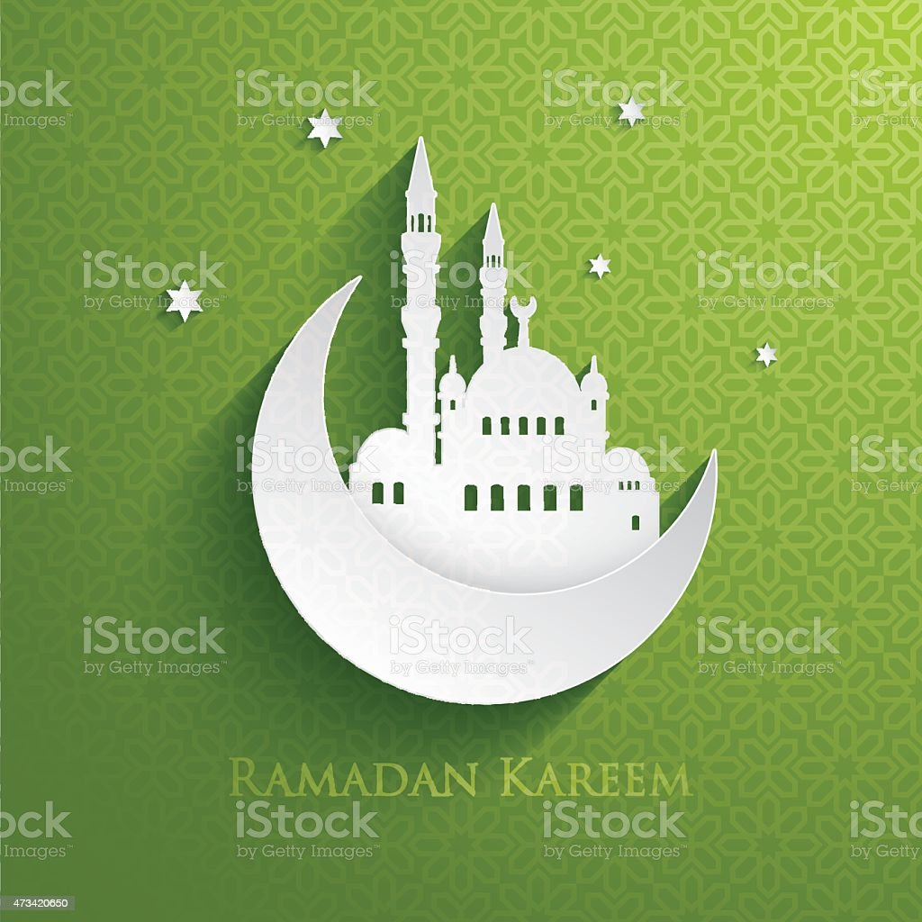 Ramadan Kareem card with green background vector art illustration