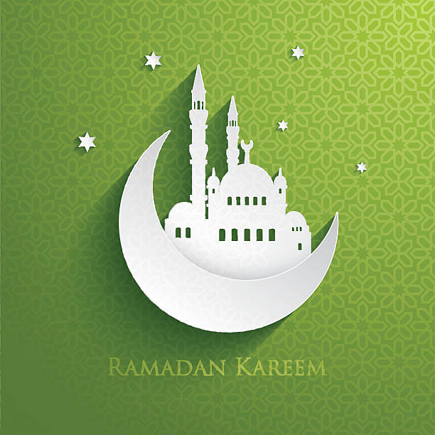 Ramadan Kareem card with green background vector art illustration