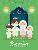 Ramadan kareem greeting illustration. Cartoon muslim or malay family wearing face mask celebrate festival at home. Fanous lantern & mosque in flat design. Stay home, stay safe.
