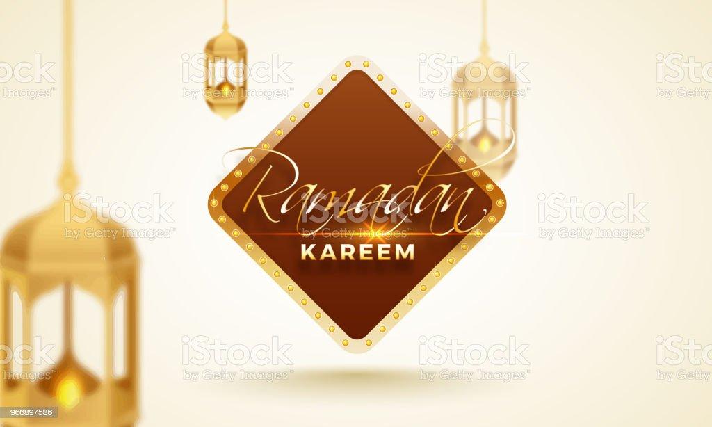 Ramadan Kareem celebration card design with hanging illuminated lanterns. vector art illustration
