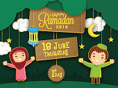 Holy month of Muslim community, Ramadan Kareem celebration with cute puppets celebrating first day of Ramadan on mosque silhouette background.