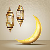 ramadan kareem celebration with lanterns hanging and moon vector illustration