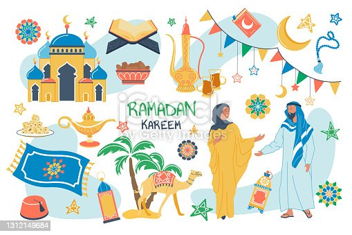 istock Ramadan Kareem concept isolated elements set. Bundle of muslim couple in traditional dress, mosque, religious book, camel, food, drink, crescent moon, stars. Vector illustration in flat cartoon design 1312149684