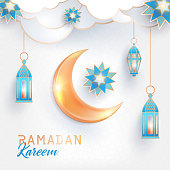 Ramadan Kareem concept square banner. Arabesque, traditional lanterns,  Beautiful Shining golden crescent and bright stars on white background with clouds and islamic geometric patterns.