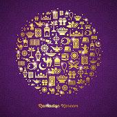 Ramadan Kareem concept banner with flat sticker icons in circle. Vector illustration. Eid Mubarak. Koran, Traditional Lanterns, Dates, Iftar food, Muslim mosque. Gold shiny design