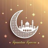 Ramadan Kareem - crescent moon & mosque