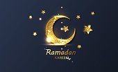 Ramadan kareem crescent stock illustration. Greeting card, invitation for muslim community