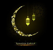 ramadan kareem eid festival crescent and lantern design