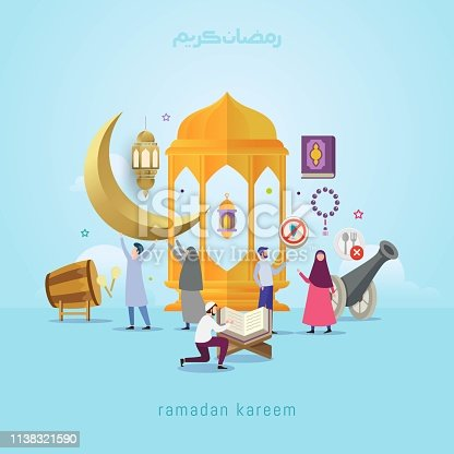 Vector illustration ramadan kareem design concept with small people and muslim activity symbol