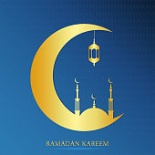 Ramadan Kareem design for Muslim feast of the holy month. Ramadan greeting card with gold mosque and half a month. Vector illustration.