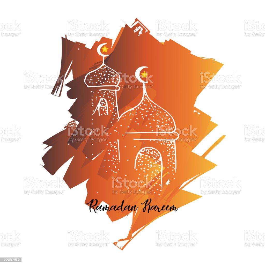ramadan kareem design with mosque vector art illustration