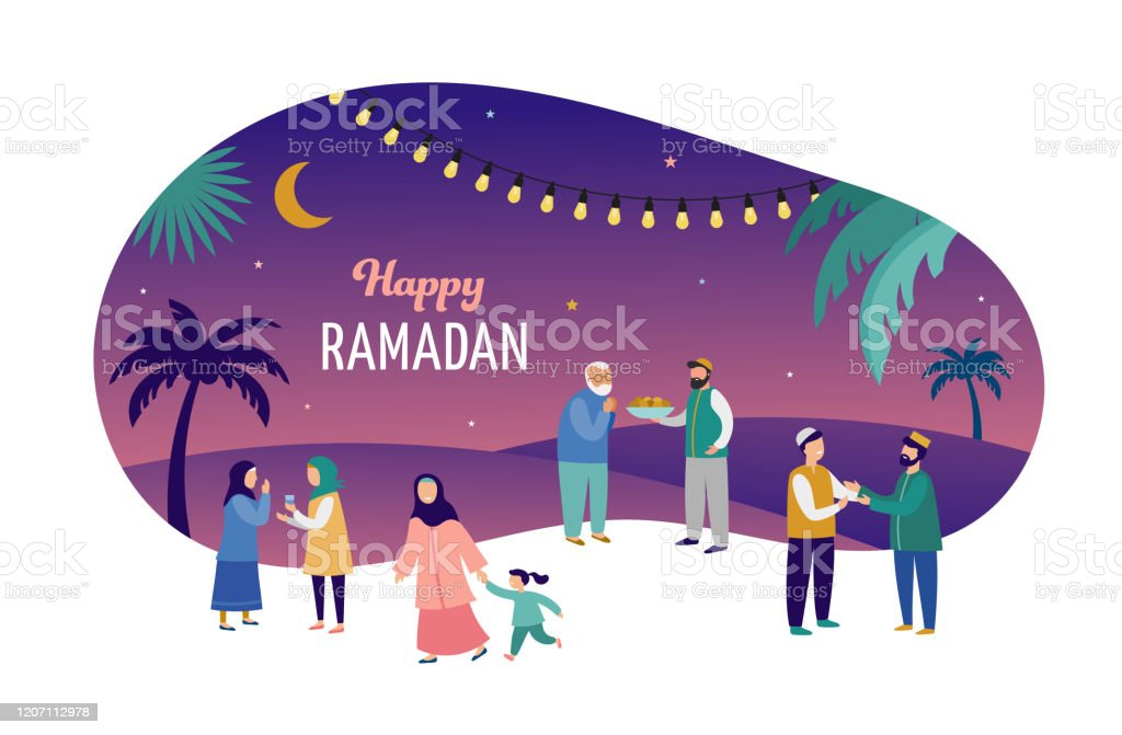 Ramadan Kareem Eid Mubarak Grusskarte Und Banner Mit Vielen Menschen Geschenke Essen Manner Frauen Und Kinder Gehen Auf Der Strasse Islamischer Urlaubshintergrund Vektorillustration Stock Vektor Art Und Mehr Bilder Von Abstrakt