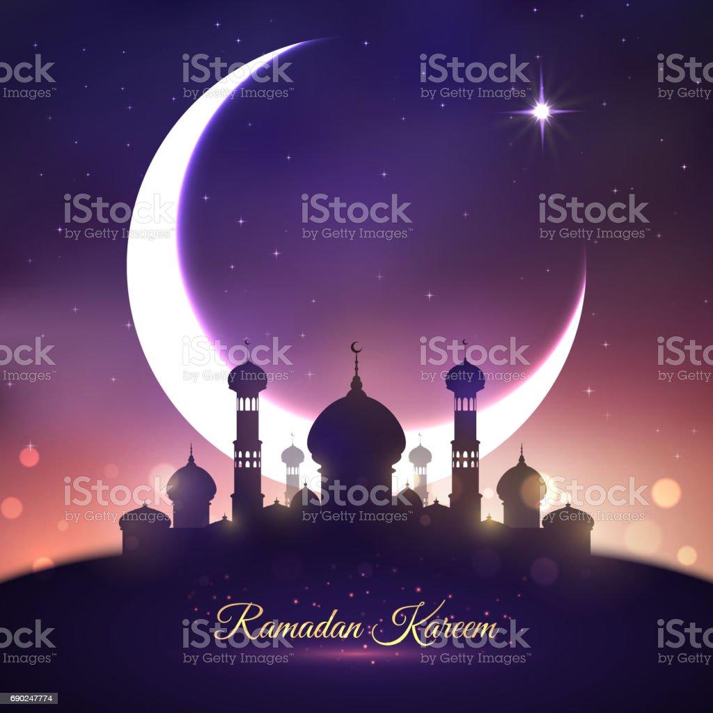 Ramadan Kareem, Eid Mubarak greeting card design vector art illustration