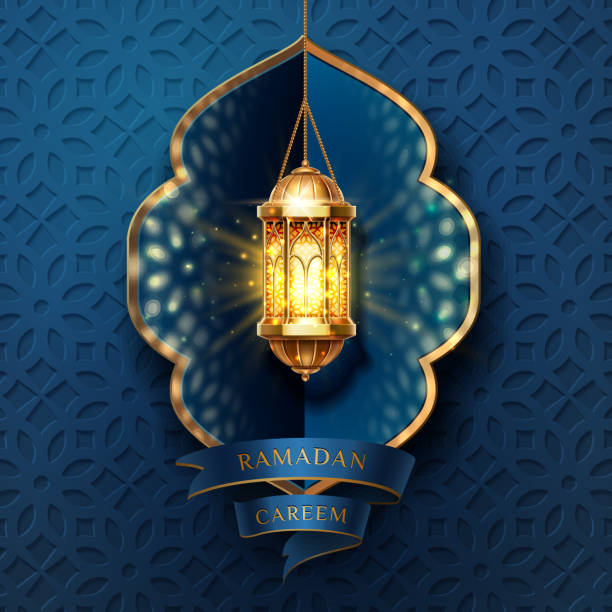 Ramadan kareem, eid mubarak light for card design Ramadan kareem or eid mubarak, al-fitr greeting card background. Lamp or lantern, fanous or fanoos for muslim or arabic religious holiday poster. Islamic quran festive or ramazan celebration. Religion ramadan stock illustrations