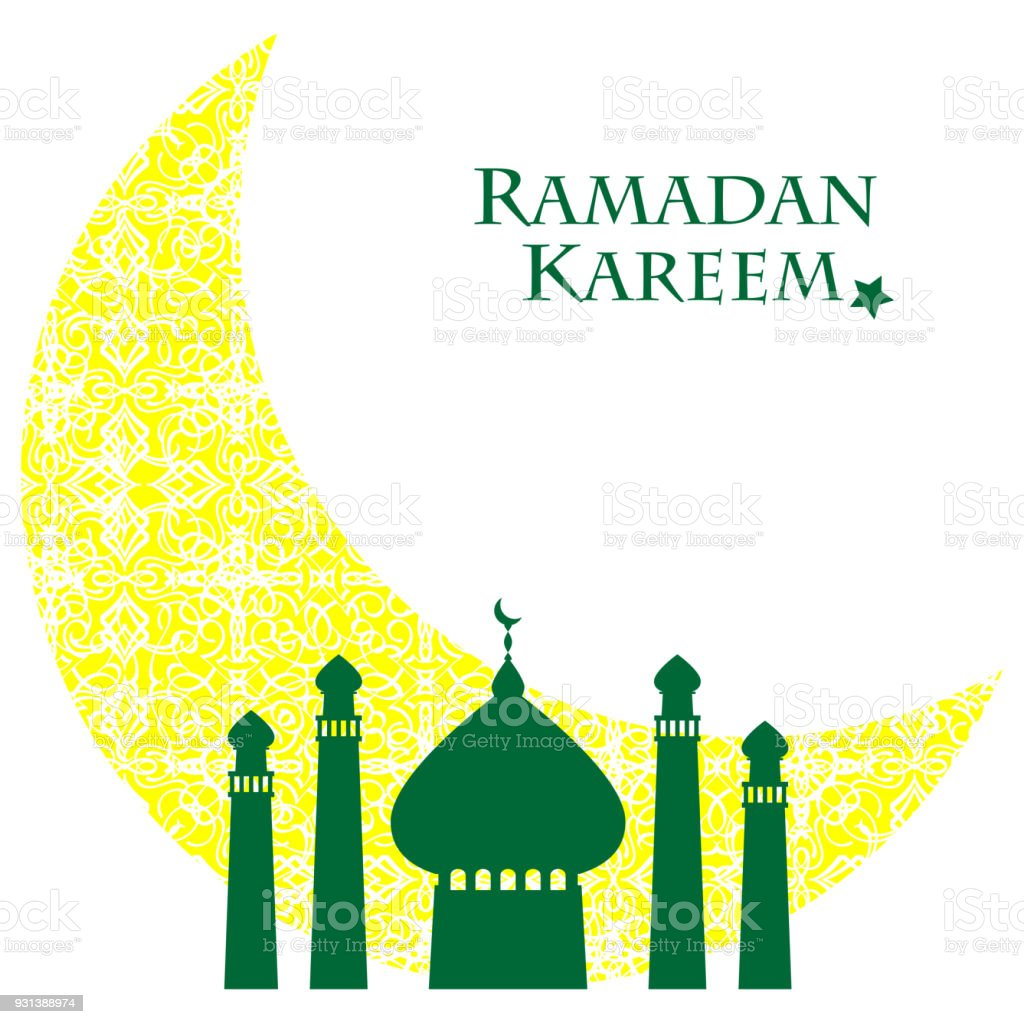 Ramadan Kareem Eid Template Background With Copy Space With Icon
