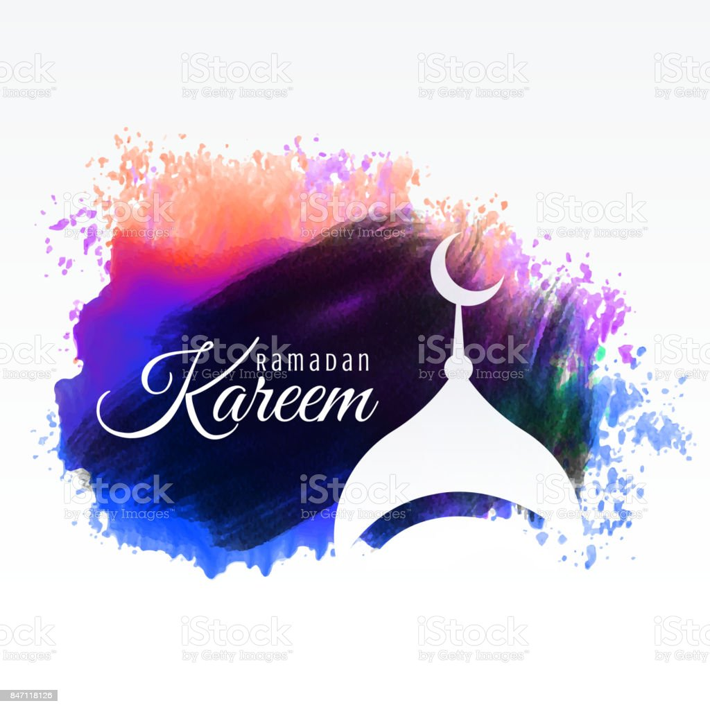 ramadan kareem festival greeting with watercolor background vector art illustration