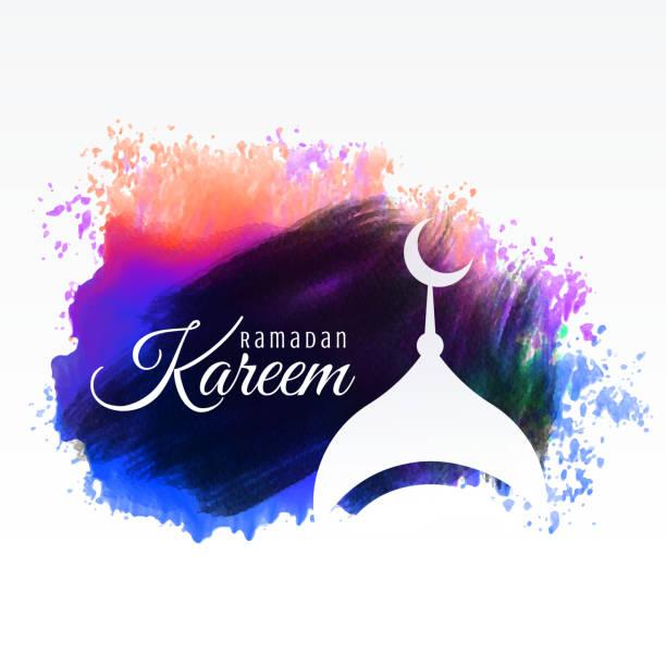 ramadan kareem festival greeting with watercolor background vector art illustration