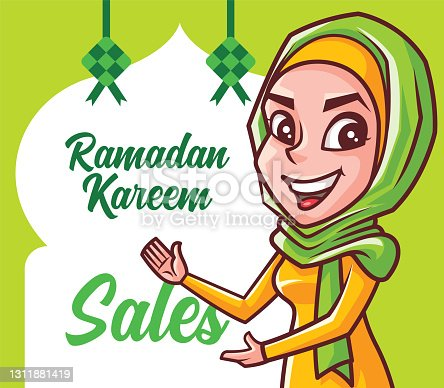 istock Ramadan Kareem Festival Sales Signboard. Cartoon smiling Muslim woman with hijab pointing to Ramadan festival Mosque shape signboard with Ketupat decoration 1311881419