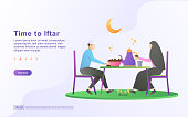 Ramadan kareem flat design concept. People are waiting for iftar time. happy when the time comes. time to iftar, happy iftar party. Can use for web landing page, banner, ui. Vector Illustration